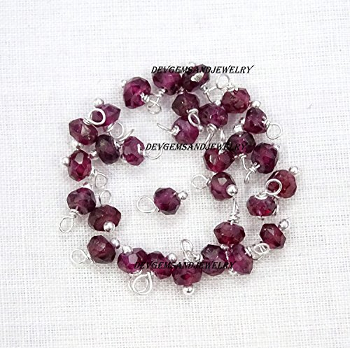 100 Pieces Natural Rhodolite Garnet Gemstone 3.50 mm Faceted Rondelle Beads 925 Silver Plated Wire Wrapped Linking Loose Beads.