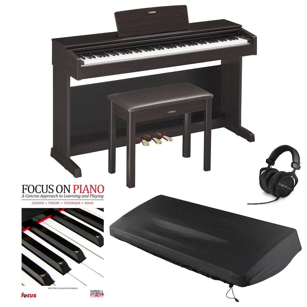 Yamaha YDP143R 88 Key Digital Piano with Matching Bench, Beyerdynamic DT990 Headphones, includes Dust Cover and Piano Book (Dark Rosewood)
