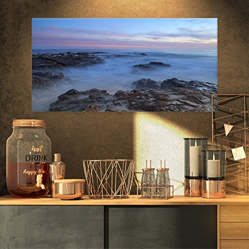 (Design Art PT10474-32-16 Long Exposure at Sunset Over Rocks-Modern Beach Canvas Art Print-32X16, 32x16)