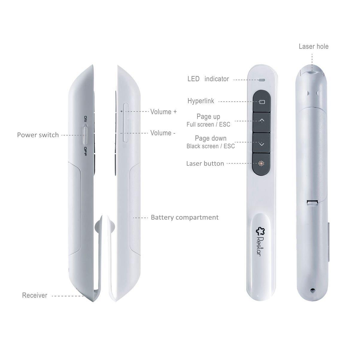 Wireless Laser Presenter, Restar 2.4GHz Wireless USB PowerPoint Presentation Remote Control Pointer Clicker Presenter Laser Flip Pen with Clip (White) by Restar Laser Pointer (Image #3)