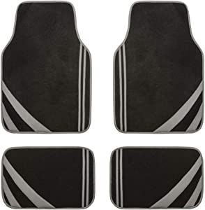 CAR-PASS Liner Rider Plush Carpet with Vinyl Trim Car Mat Universal Fit Car Floor Mats,Perfectly Fit sedans,Vans,suvs,Trucks,Set of 4(Gray)