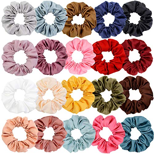 Chloven 20 Colors Large Satin Hair Scrunchies Elastic Hair Bobbles Ponytail Holder Hair Scrunchy Vintage Hair Ties Accessories for Women Girls]()