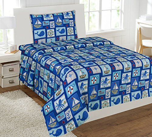 WPM Sailor Blue bedding set whale shark sea creatures boat print choose from Full/Twin comforter or bed sheets or window curtains panels for kids/girls/boys room (Twin Sheets)