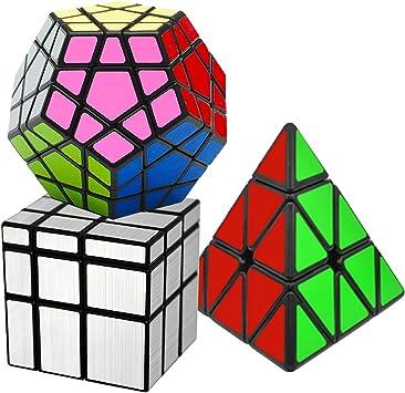 EASEHOME Speed Magic Puzzle Cube Megaminx + Pyraminx + Espejo in Giftbox, 3 Pack Rompecabezas Cubo Mágico PVC Pegatina para Niños y Adultos, Negro: Amazon.es: Juguetes y juegos