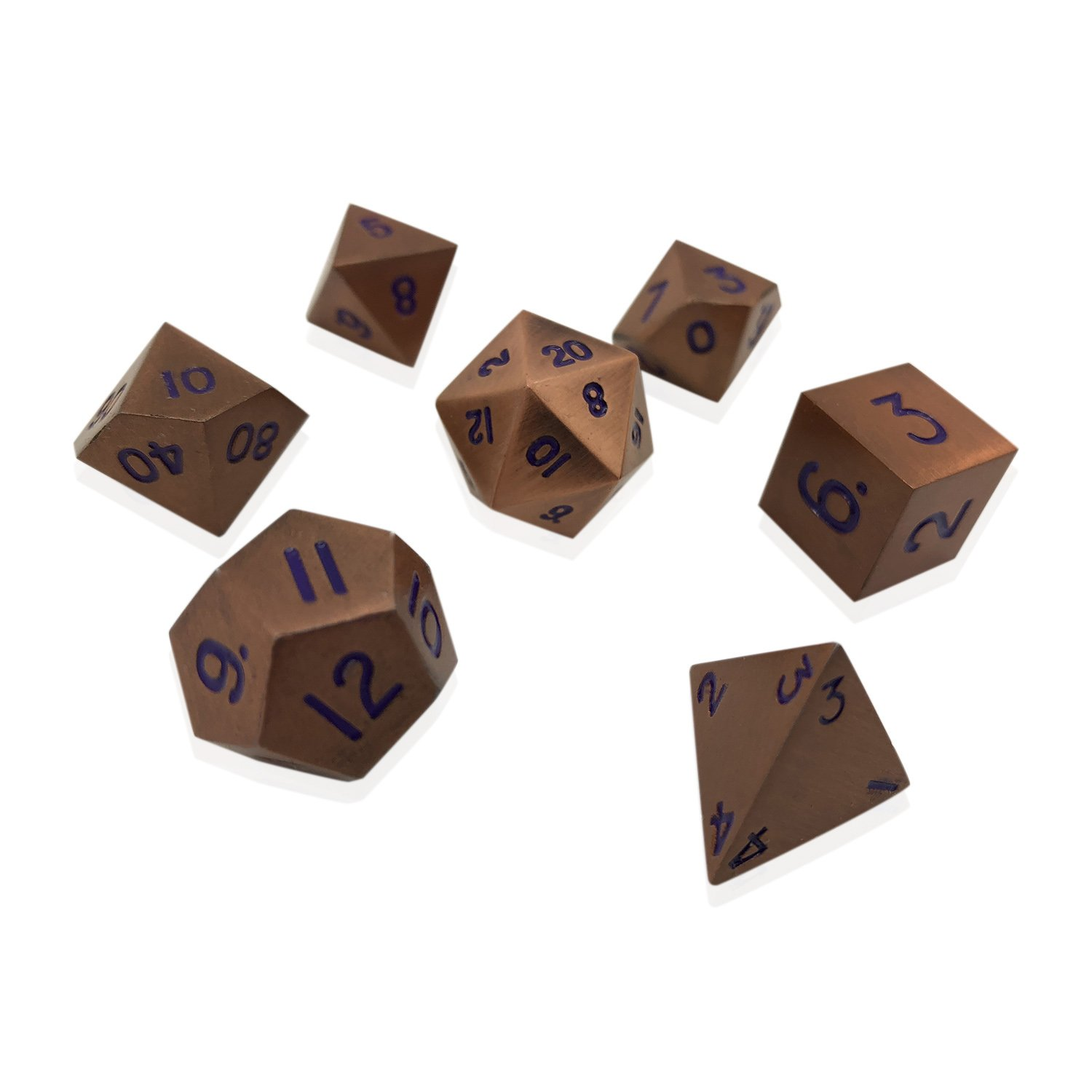 Norse Foundry Set of 7 Mystic Copper Full Metal Polyhedral Dice by RPG Math Games DnD Pathfinder ...