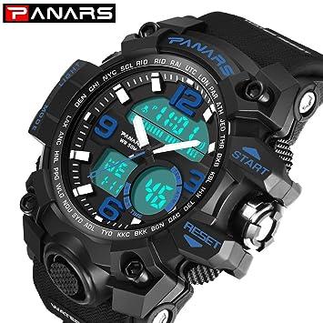 Msxx Reloj de Zona horaria Dual, 2 Estilos de Pantalla, Reloj de Cuarzo electrónico Deportes al Aire Libre Impermeable Luminoso táctico Militar Reloj Reloj ...