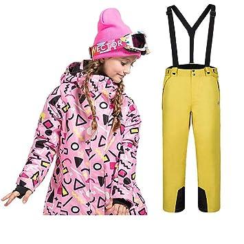 LPATTERN Traje de Esquí para Niños/Niñas 2 Pieza Chaqueta Acolchada con Capucha+ Pantalones con Tirante de Nieve: Amazon.es: Deportes y aire libre