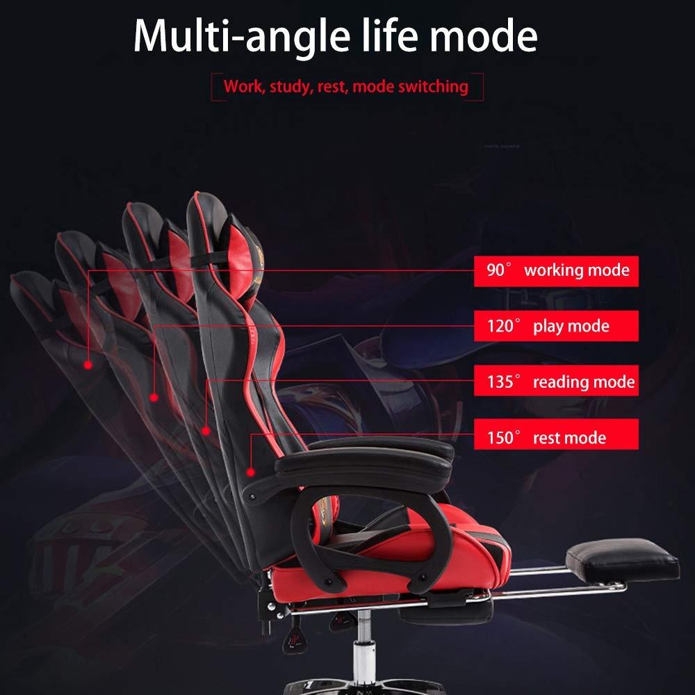 Bseack svängbar stol spelstol, hög rygg kontorsstol med fotstöd verkställande stol höjd justerbar racerstol med nackstöd och ländrygg stöd 5 färger valfritt Röd Svart