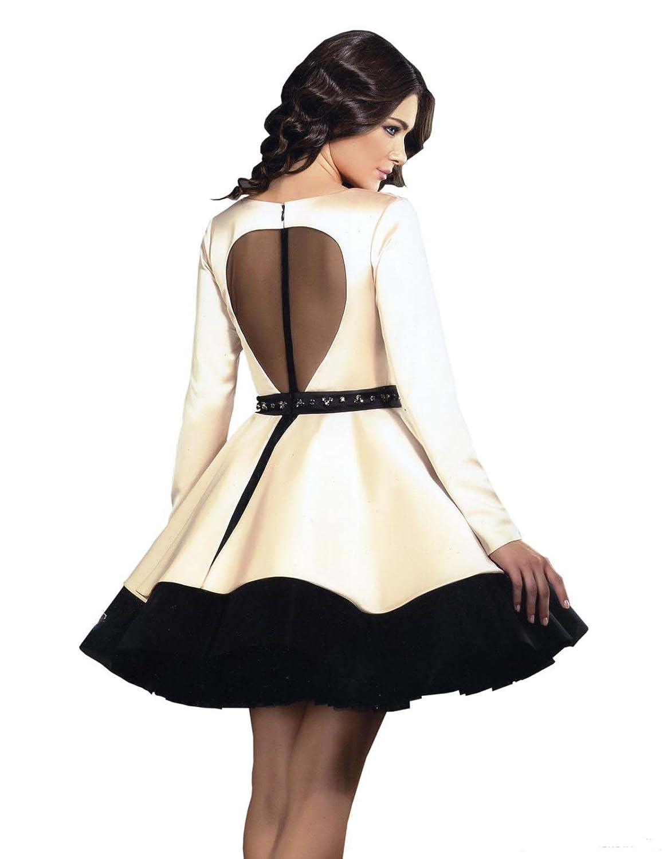 Aokaixin V Neck Long Sleeves Short Prom Dresses