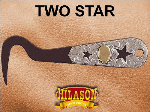 HILASON STEEL METAL FANCY HORSE HOOF PICK ANTIQUE BROWN GERMAN SILVER OVERLAY MOTIF TACK