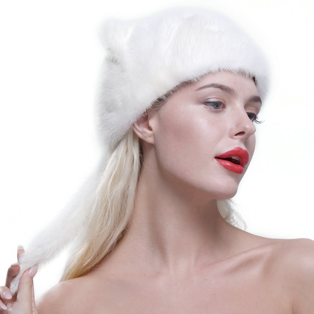 URSFUR Women's Winter Cat Ears Hat Real Mink Fur Baseball Cap with Fur Tail