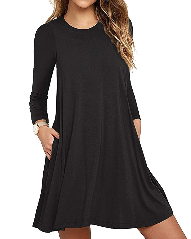 Deesdail T-Shirt Dress with Pockets, Women Round Neck Raglan Sleeves Casual Midi Dresses Flowy Hem Knee Length Knitted Long Tunic Tops Black
