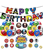 Superhero Party Supplies Kit 40 PCS Superhero Birthday Party Decorations Includes 1 Birthday Banner 10 Cupcake Toppers 1 Big Cake Topper 24 Latex Balloons 4 Button Pins for Children, Adults, Fans Birthday