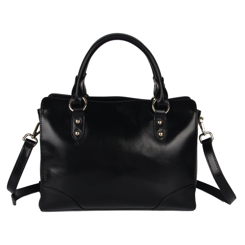 Yafeige Women's Genuine Leather Tote Handle Bag Cross-body Handbag Top Handle Satchel Shoulder Bags Ladys Purse(Black)