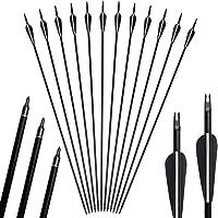 12pack 31inch Arrows Tiro con Arco Caza Fibra de Vidrio Reemplazo Screw-In Broadheads para 20-55lbs Compuesto y Arco…
