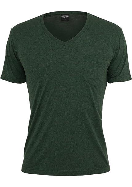 Urban Classics Men's TB484 Melange V-Neck Pocket Short Sleeve T Shirt S  Forestgreen/