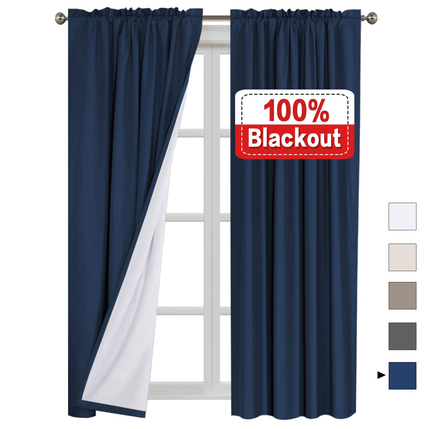 Flamingo P 100% Blackout Curtains Waterproof Fabric Curtains with White Thermal Insulated Liner, Rod Pocket Curtains for Living Room/Bedroom,2 Bonus Tie-Backs (2 Panels W52 x L96 inches, Navy) by Flamingo P