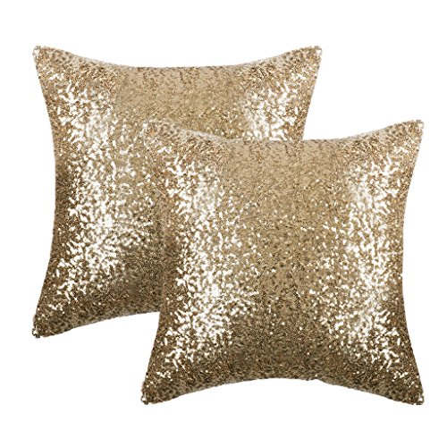- PONY DANCE Shiny Sparkling Sequins Pillow Covers Comfy Satin Cushion Covers Pillowcases Bling Sequins Party/Christmas Hidden Zipper Design,18-inch 18-inch,2 Packs,Light Gold