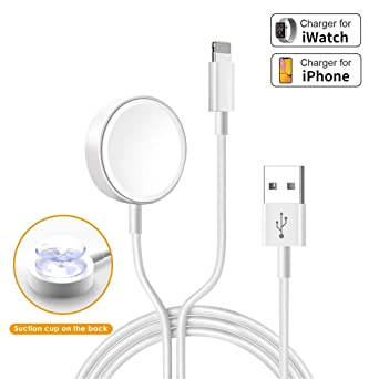 Uoeos 2 in 1 Wireless Charger for iWatch & iPhone Charger Cable 5ft/1.5m Portable Charging Cable Compatible with for iWatch Series 4/3/2/1& ...