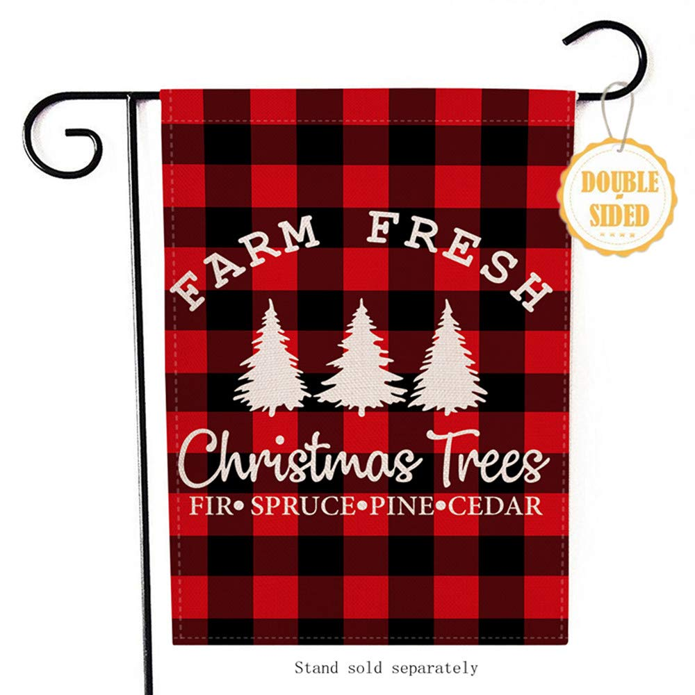 Hzppyz Farm Fresh Christmas Trees Garden Flag, Home Decorative Xmas Outdoor Flag Sign Buffalo Check Plaid, Rustic Burlap Farmhouse Yard Flag Vintage Winter Outside Decoration Home Decor Flag 12.5 x 18