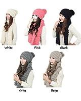 LEORX Donna inverno maglia addensare Hat berretto e sciarpa Set