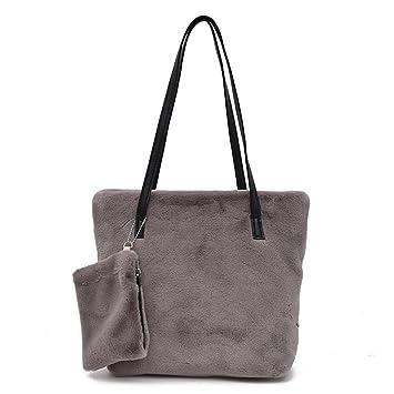 Fmeida Damen Handtasche Flauschig Taschen Tote aus Kunstfell