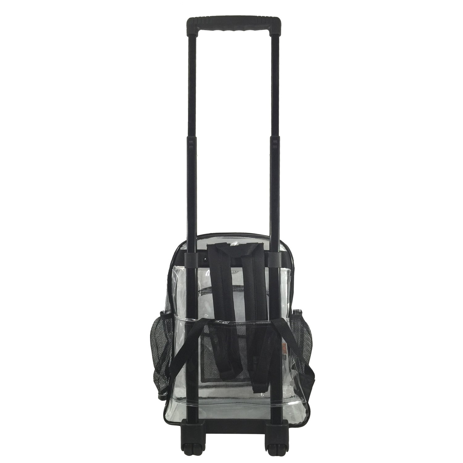 Rolling Clear Backpack Heavy Duty Bookbag Quality See Through Workbag Travel Daypack Transparent School Book Bags with Wheels Black by K-Cliffs (Image #5)