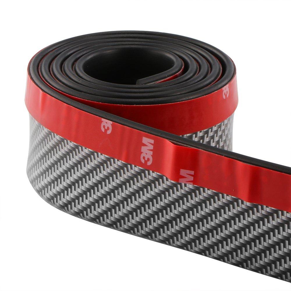 tioodre Protector del tope delantero, parachoques de fibra de carbono Lip coche Spoiler 2.5 m adhesivo Lip Forte Sticky Car Falda Protector (negro + plata) tamañ o universal.