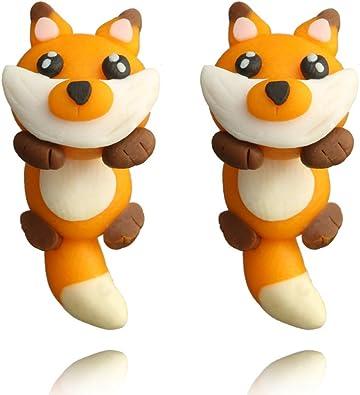 Amazon.com: Arcilla de polímero Fox pendiente Lovely Animal ...