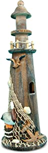 Puzzled Wooden Brown Lighthouse, 14 Inch Tabletop Figure Accent Intricate & Meticulous Detailing Wood Art Handcrafted Hand-painted Tower Figurine Decoration Nautical Beach Themed Home Décor Accessory