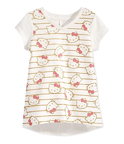 d4b251bcd Evy of California Girls Hello Kitty Gold Stripe Embellished T-Shirt  Off-White 2T