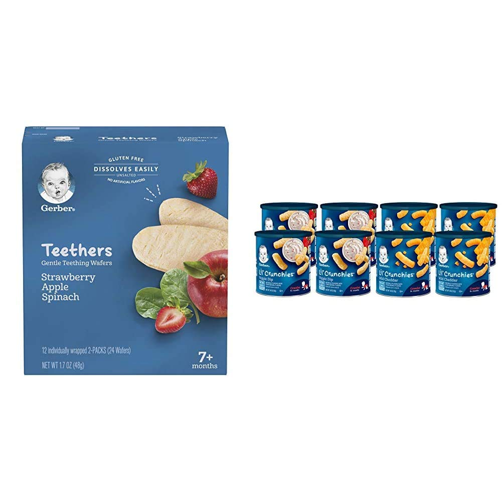 Gerber Teethers Gentle Teething Wafers - Strawberry Apple Spinach, 6 Count & Lil Crunchies, Mild Cheddar & Veggie Dip, 8 Count