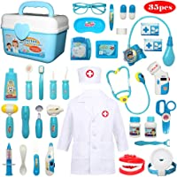 Buyger 30 Pcs Role Play Dentist Toys Doctor Nurse Carrycase Medical Kit Stethoscope with Lights and Sounds for Kids Age…