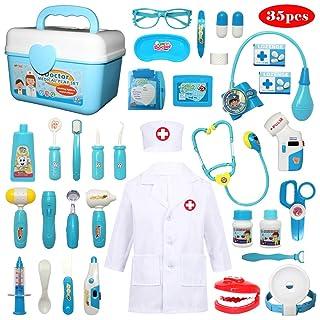Buyger 32 Pezzi Valigetta del Medico Costume da Dottore Giocattolo Gioco di Ruolo Dentista Imitazione per Bambini Stetoscopio con Luci e Suono