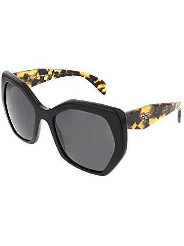 8ec560ce4ccb Amazon.com: Prada Women's Oversized Geometric Sunglasses, Black/Grey ...