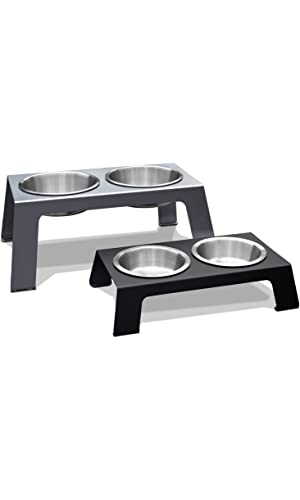 PetFusion Elevated Pet Feeder in Premium Anodized Aluminum with U.S. Food Grade Stainless Steel Bowls