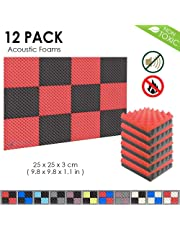 Arrowzoom New 12 Pack of Red & Black (25 X 25 X 3 cm) Convoluted Foam Egg Crate Acoustic Foam Studio Absorbing Tiles Pads Wall Panels (RED&Black)