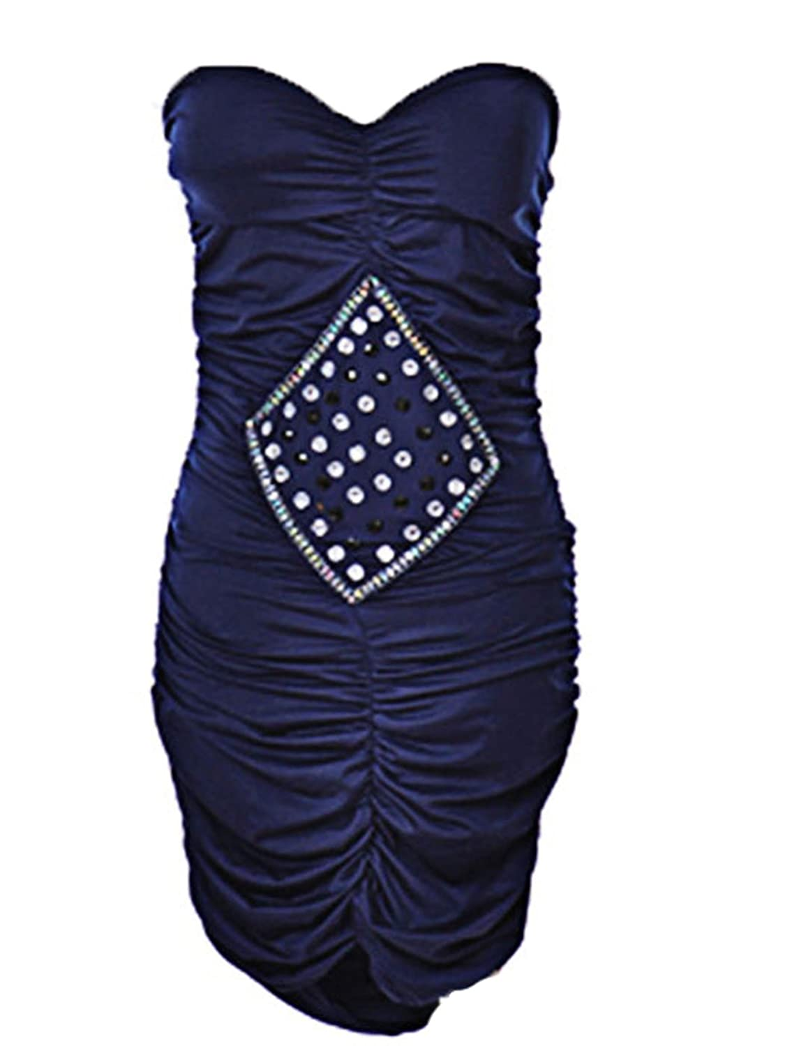 Sexy Body Con Strapless Sweetheart Neckline Ruched Blue Clubwear Party Dress