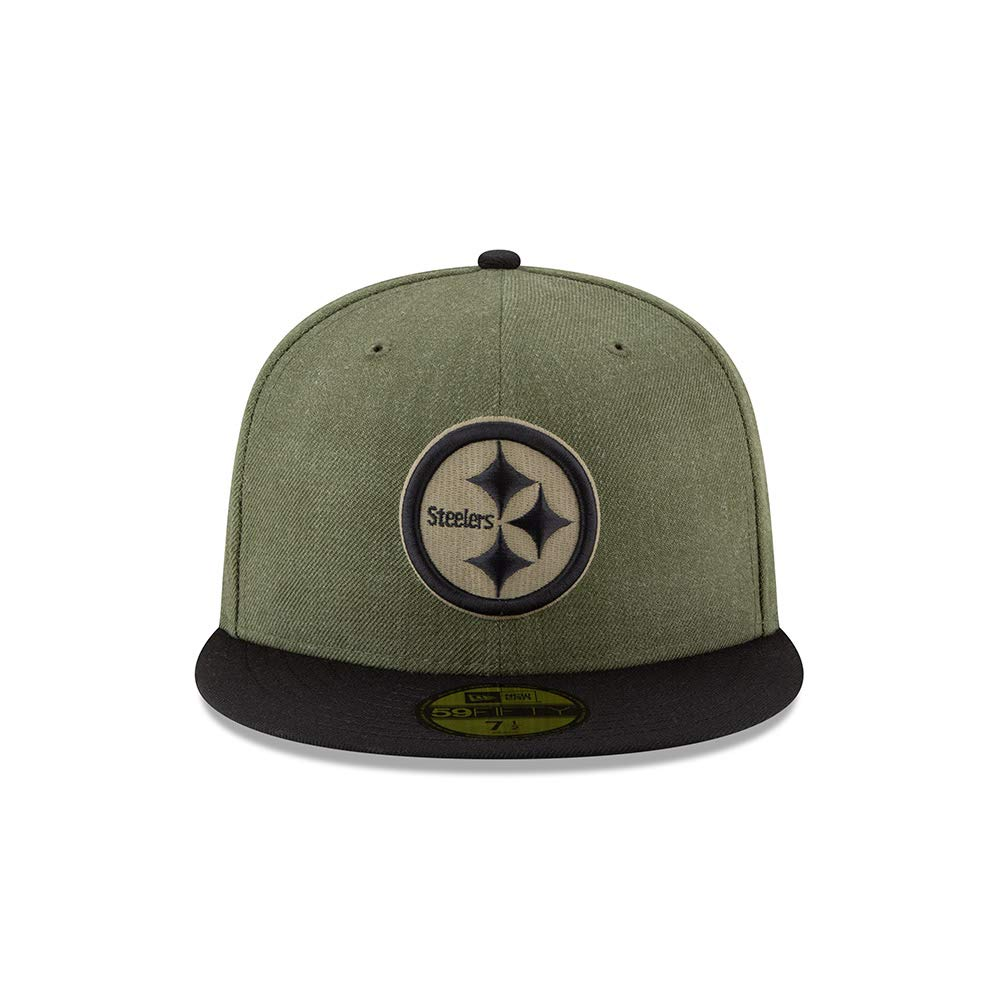ba16fc860 Amazon.com  New Era 59Fifty Hat Pittsburgh Steelers On-Field Salute to  Service Green Fitted Cap  Clothing