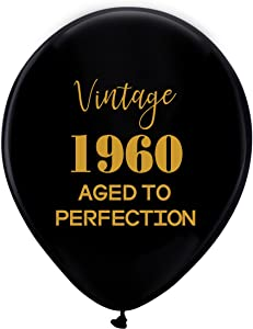 Black Vintage 1960 Balloons – 12inch (16pcs) Men and Women Gold 59th Birthday Party Decorations or Supplies