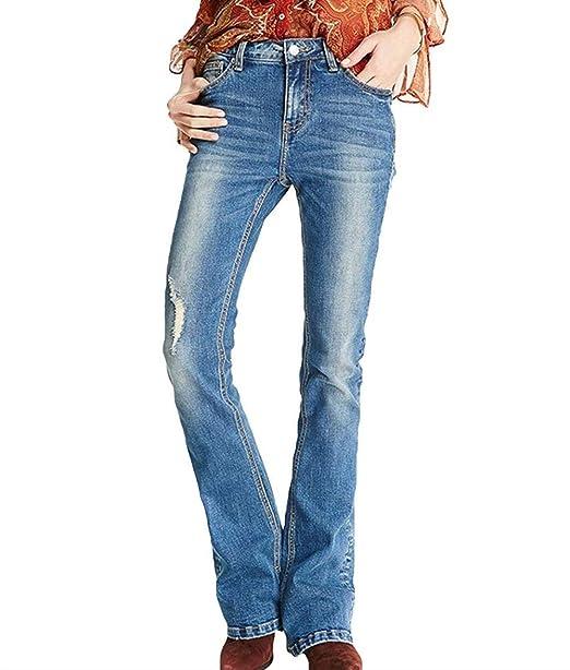 Pantalones Vaqueros De Mujer con Pantalones De Campana ...