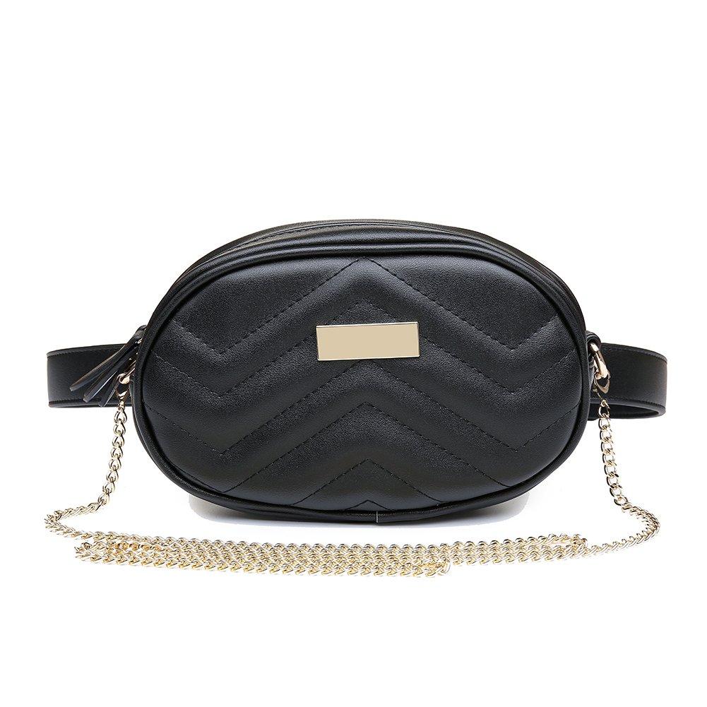 Badiya Oval Shape Women's Waist Fanny Packs Bum Bags Wide Strap Heart Shoulder Bag WP06795BK