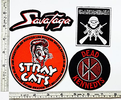 Set Rock music 069 Savatage IRON MAIDEN Stray Cats Dead Kennedys Heavy Metal Music Punk Band Logo Embroidered Iron on Hat Hoodie Backpack Ideal for Birthday Gift