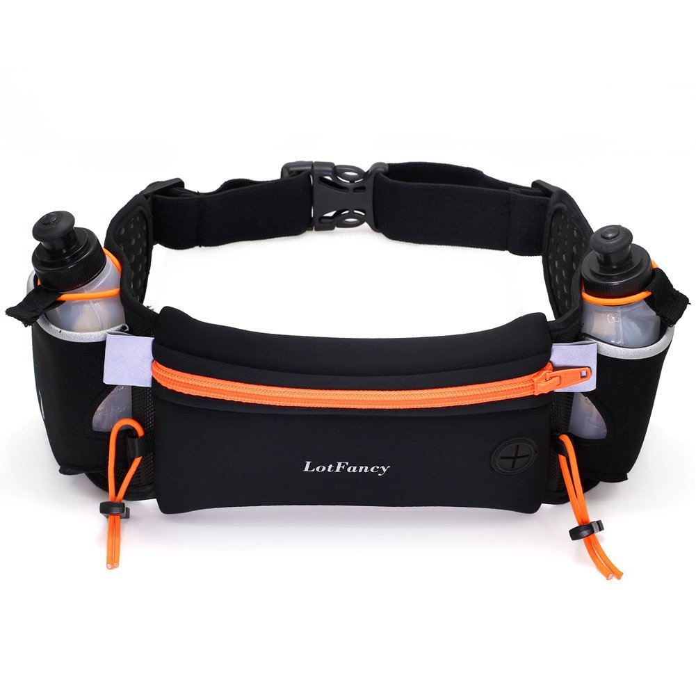 LotFancy Running Fuel Belt with Water Bottle (BPA Free) - Hydration Belt for Women