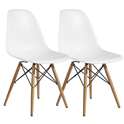 Superieur Designer Modern Plastic Dining Side Chair WoodLeg Eiffel Base Set Of 2