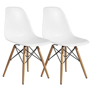 Amazing Designer Modern Plastic Dining Side Chair WoodLeg Eiffel Base Set Of 2