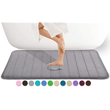 Yimobra Memory Foam Bath Mat Large Size 44.1 x 24 Inches, Comfortable, Soft, Maximum Absorbent, Machine Wash, Non-Slip, Thick, Easier to Dry for Bathroom Floor Rug, Grey