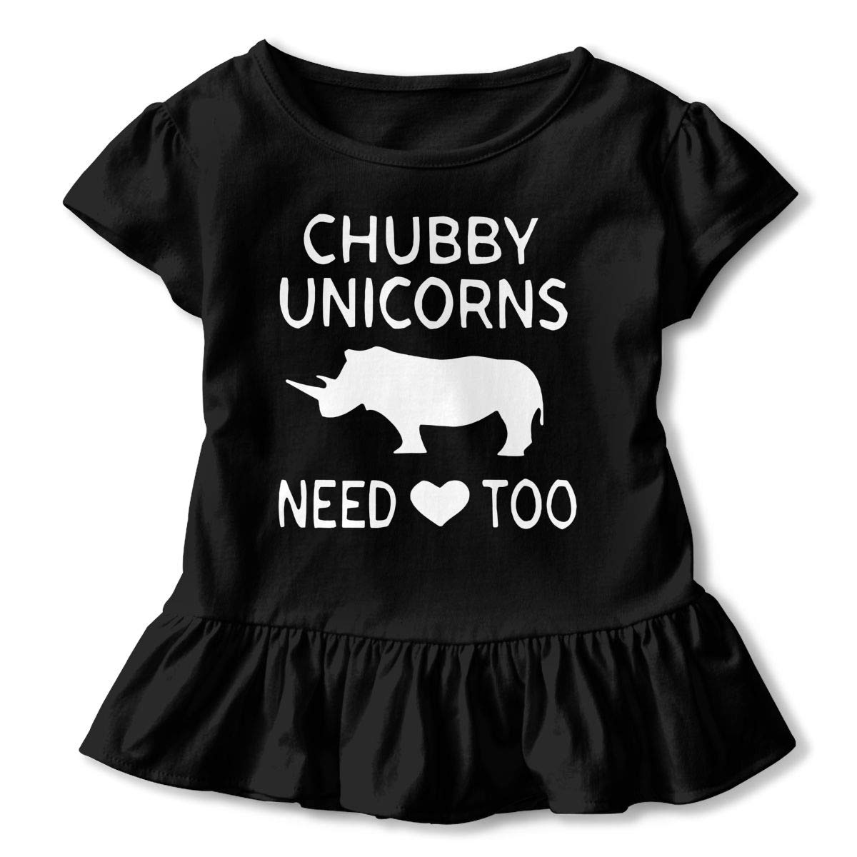 Chubby Unicorn Need Love Too Toddler//Infant Girls Short Sleeve Ruffles Shirt T-Shirt for 2-6 Toddlers