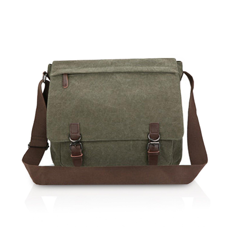 FANDARE Casual Postman Messenger Bag Men Portable Business Student Travel Shoulder Bag Large Capacity Multi-pocket Wear-resistant Canvas ArmyGreen B
