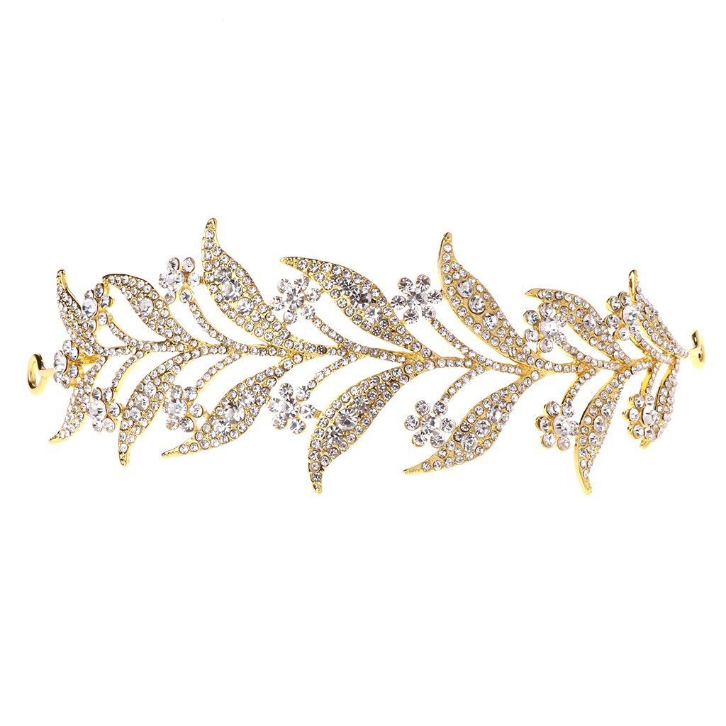 Thobu Leaf Style Crown Bride Wedding Tiara Princess Jewelry Women Luxury Queen Decor Gold